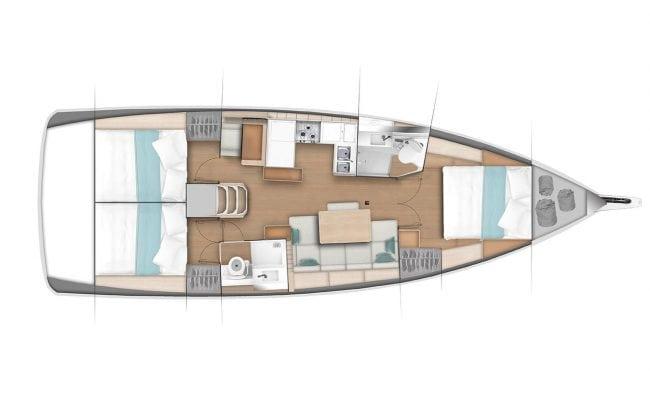 Sun Odyssey 440 3 Cabins, 2 Heads Layout