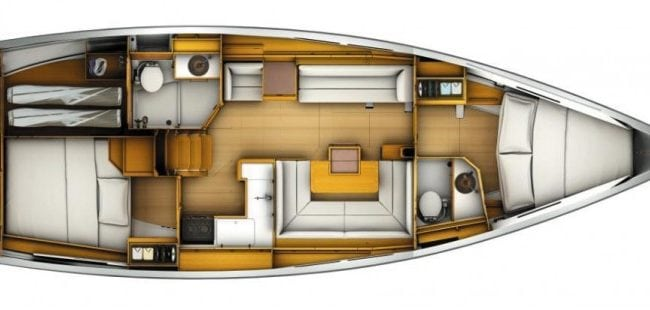 Sun Odyssey 449 2 Cabins, 2 Heads Layout