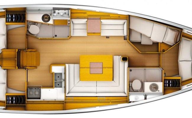 Sun Odyssey 449 4 Cabins, 2 Heads Layout