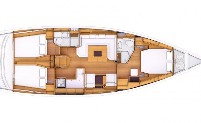Sun Odyssey 479 3 Cabins, 2 Heads Layout
