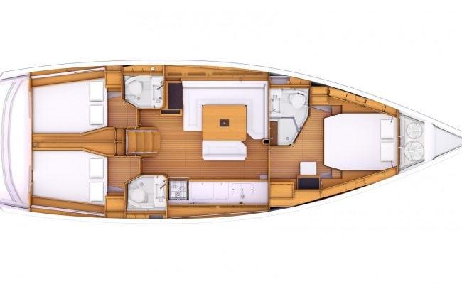 Sun Odyssey 479 3 Cabins, 3 Heads Layout