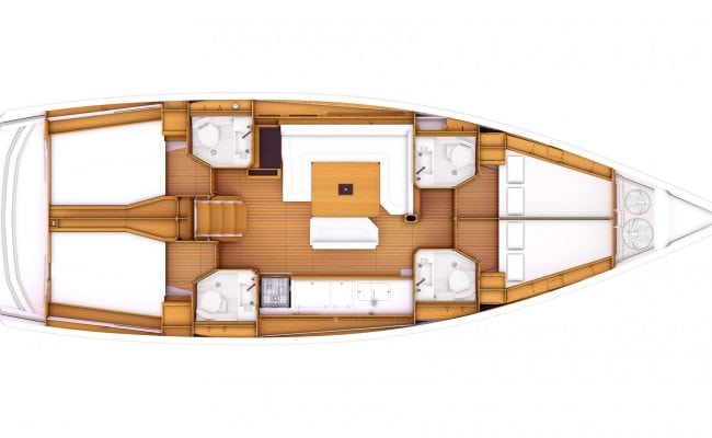 Sun Odyssey 479 4 Cabins, 4 Heads Layout
