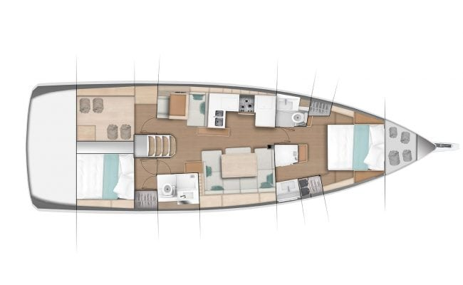 Sun Odyssey 490 2 Cabins, 2 Heads Layout