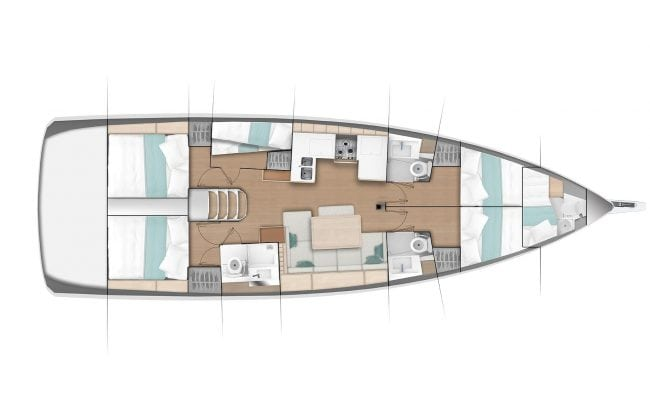 Sun Odyssey 490 4 Cabins, 4 Heads Layout