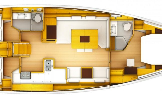 Sun Odyssey 519 3 Cabins, 2 Heads Layout