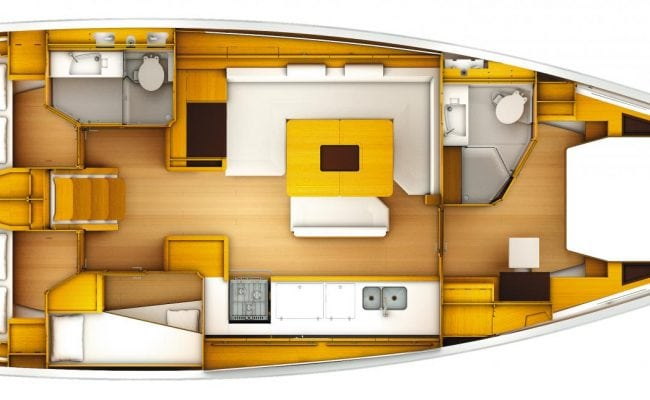 Sun Odyssey 519 4 Cabins, 2 Heads Layout