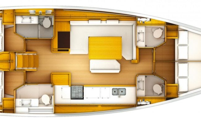 Sun Odyssey 519 4 Cabins, 4 Heads Layout