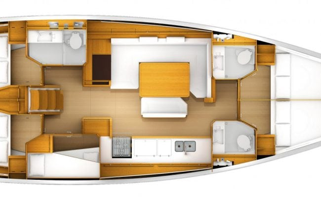 Sun Odyssey 519 5 Cabins, 3 Heads Layout