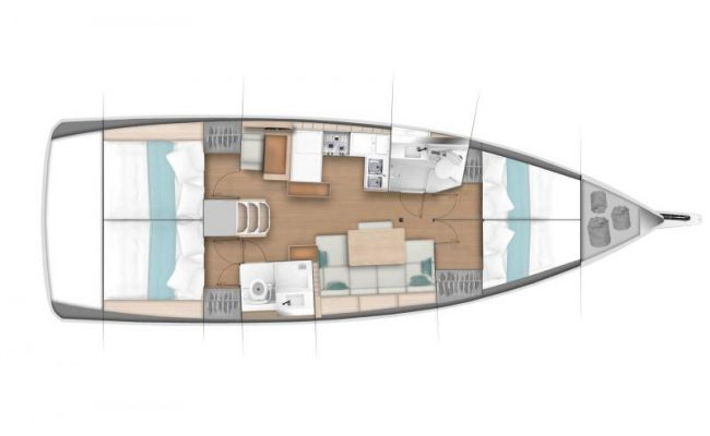 Sun Odyssey 440 4 Cabins, 2 Heads Layout
