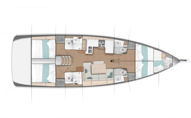 Sun Odyssey 490 4 Cabins, 5 Heads Layout