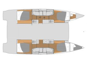 Fountaine Pajot 45 - Layout Quatuor Version 4 Cabins 4 Heads