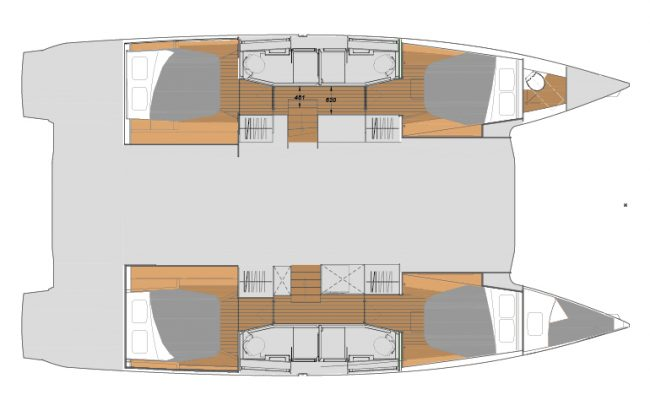 Fountaine Pajot 45 4 Cabins, 4 Heads Layout