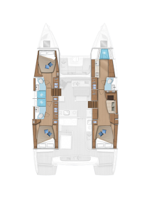 Lagoon 46 Layout 3 Cabins 3 Heads