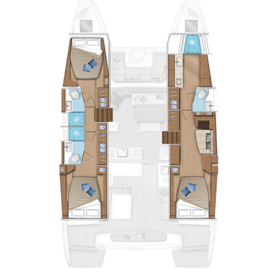 Lagoon 46 3 Cabins, 3 Heads Layout
