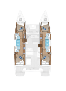 Lagoon 46 Layout 4 Cabins 4 Heads