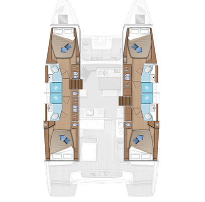 Lagoon 46 4 Cabins, 4 Heads Layout