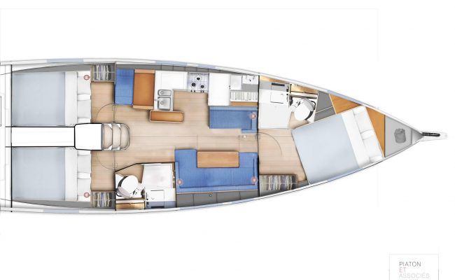 Sun Odyssey 410 3 Cabins, 2 Heads Layout