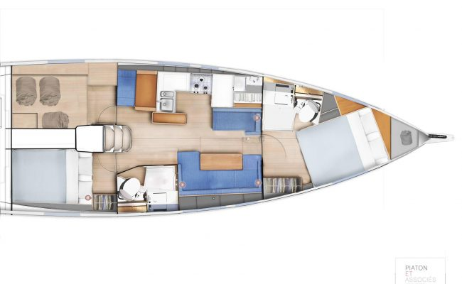 Sun Odyssey 410 2 Cabins, 2 Heads Layout