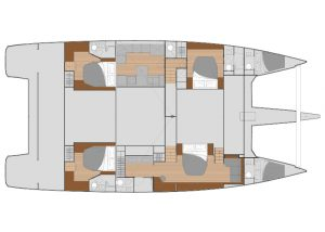 2019 Fountaine Pajot Alegria 67 4 Cabins 5 Heads Layout