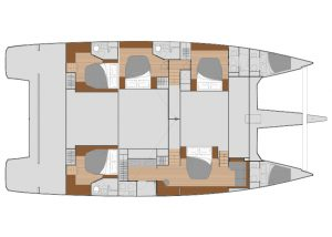2019 Fountaine Pajot Alegria 67 5 Cabins 6 Heads Layout