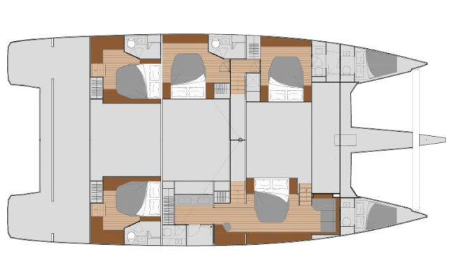 Fountaine Pajot Alegria 67 5 Cabins, 6 Heads Layout