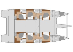 2019 Fountaine Pajot Alegria 67 6 Cabins 6 Heads Layout