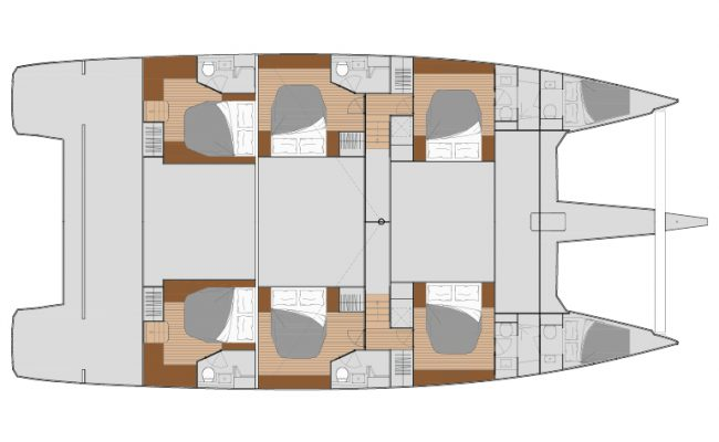 Fountaine Pajot Alegria 67 6 Cabins, 6 Heads Layout
