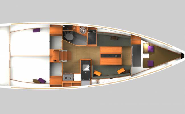 Sun Odyssey 349 3 Cabins, 1 Head Layout