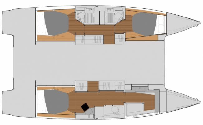 Fountaine Pajot Astréa 42 3 Cabins, 3 Heads Layout