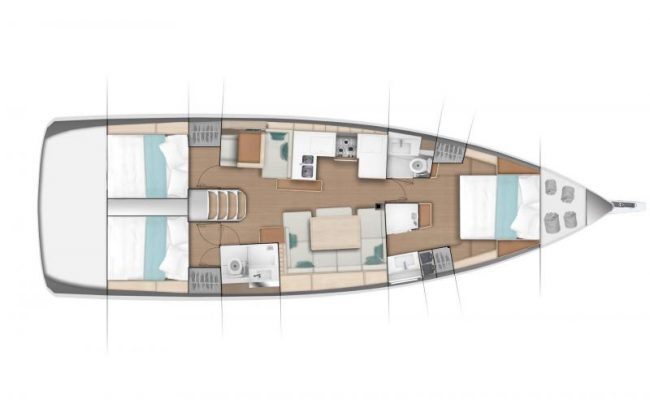 Sun Odyssey 490 3 Cabins, 2 Heads Layout