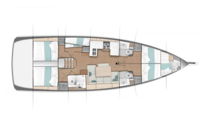 Sun Odyssey 490 5 Cabins, 4 Heads Layout