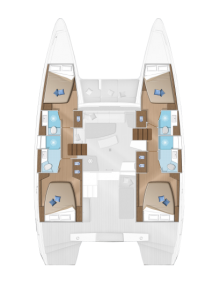 2020 Lagoon 42 4 Cabins 4 Heads Layout