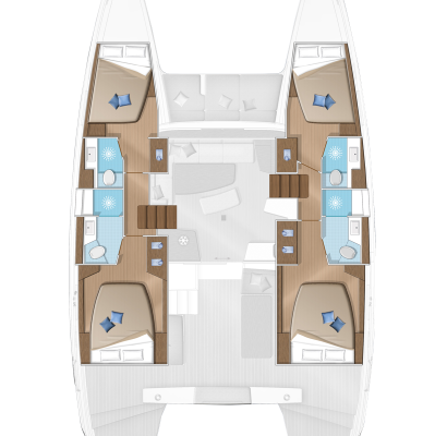 Lagoon 42 catamaran 4 Cabins, 4 Heads Layout