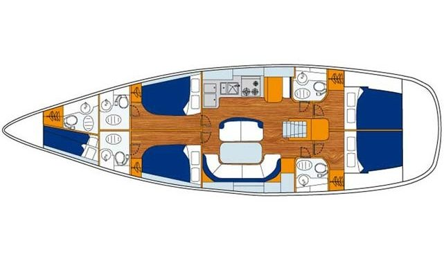 1991 Beneteau Oceanis 43 4 Cabins 2 Heads Layout