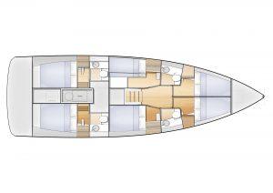Jeanneau Sun Loft 47 6 Cabins 4 Heads Layout