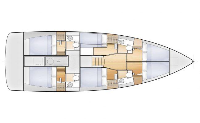 Jeanneau Sun Loft 47 6 Cabins, 4 Heads Layout