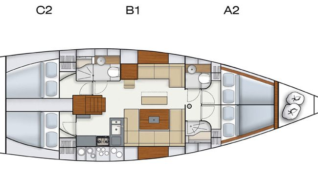 Hanse 445 3 Cabins 2 Heads Layout