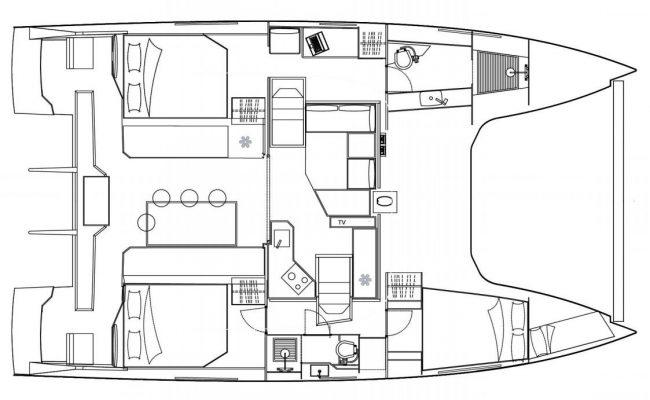 Nautitech Open 40 3 Cabins, 2 Heads Layout