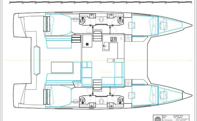 2016 Nautitech Fly 46 4 Cabins 4 Heads Layout