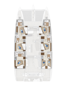 Lagoon 65 'Sixty 5' 6 Cabins, 6 Heads Layout