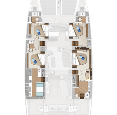 Lagoon 65 'Sixty 5' 4 Cabins, 4 Heads Layout