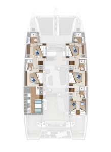 Lagoon 65 'Sixty 5' 5 Cabins, 5 Heads Layout