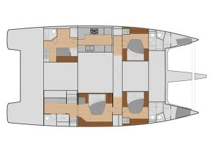 Fountaine Pajot Samana 59 4 Cabins, 4 Heads Layout