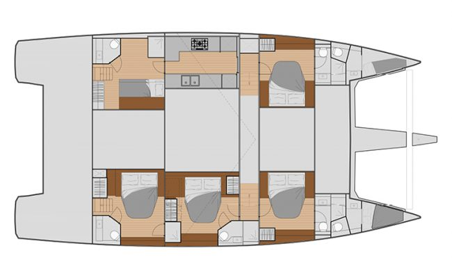Fountaine Pajot Samana 59 5 Cabins, 5 Heads Layout