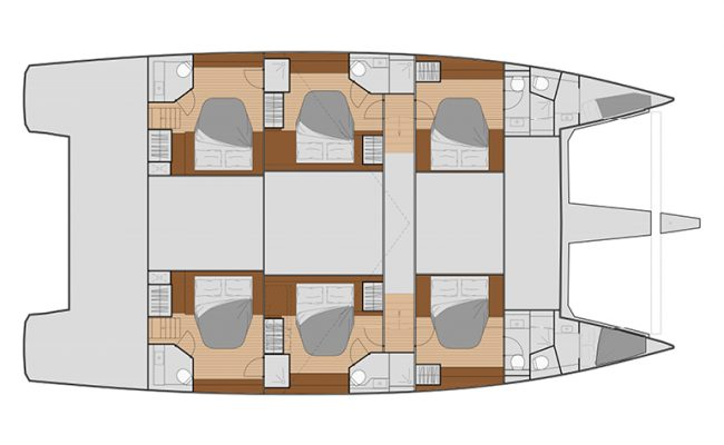Fountaine Pajot Samana 59 6 Cabins, 6 Heads Layout