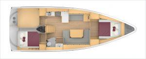 Bavaria C42 2 Cabins, 1 Head Layout