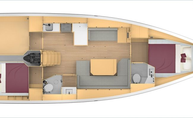 Bavaria C42 2 Cabins, 2 Heads Layout