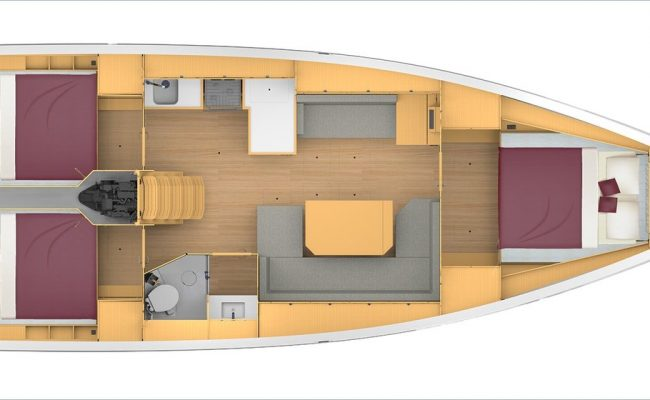 Bavaria C42 3 Cabins, 1 Head Layout