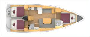 Bavaria C42 3 Cabins, 2 Heads Layout