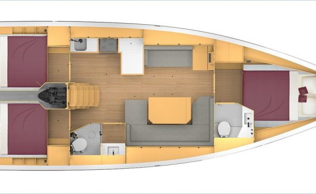 Bavaria C42 3 Cabins, 2 Heads Layout